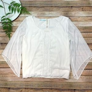 Maurices Womens Top White Long Sleeve Sheer XXL